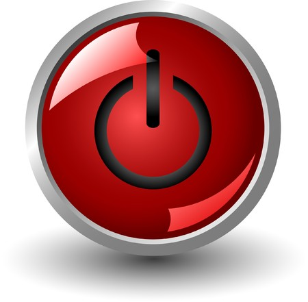 red power button isolated on white background, jpg