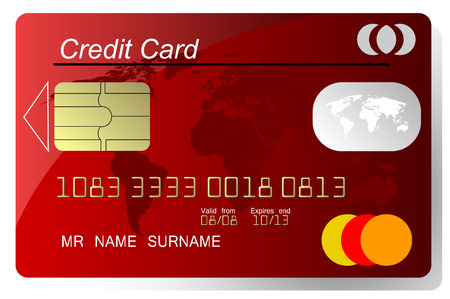 Red credit card vector, highly detailed, vector