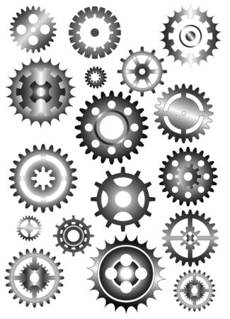 set of gear wheels isolated on white
