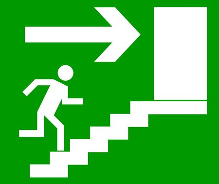 Emergency exit door, sign with human figure on stairs,jpg