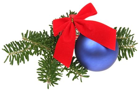 Blue Christmas balls with ribbons and branch isolated on white background