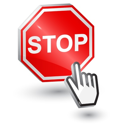 illustration of Stop sign, 3d, with mouse cursor hand