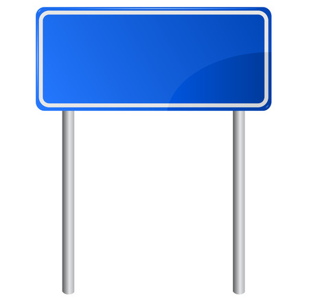 Blank blue road information sign