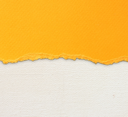 old canvas texture background with delicate stripes pattern and orange vintage torn paper