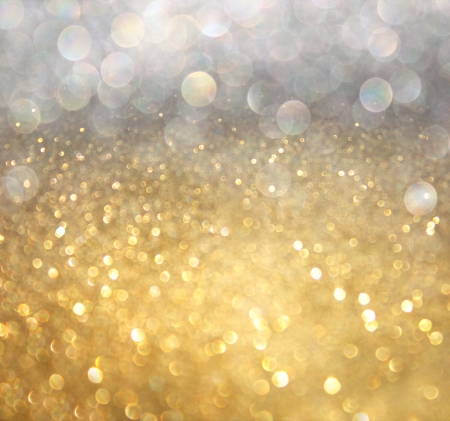 white silver and gold abstract bokeh lights  defocused background