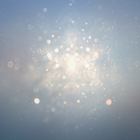 Photo for glitter vintage lights background with light burst . silver, blue and white. de-focused. - Royalty Free Image