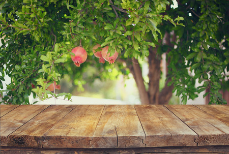 vintage wooden board table in front of dreamy pomegranate tree landscape. retro filtered image