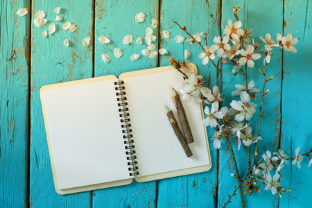 Photo pour top view image of spring white cherry blossoms tree, open blank notebook next to wooden colorful pencils on blue wooden table. vintage filtered and toned image - image libre de droit