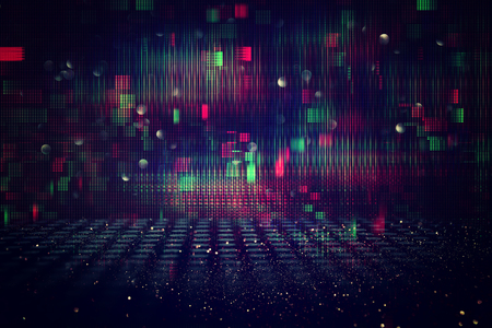 Photo pour Futuristic retro background of the 80`s retro style. Digital or Cyber Surface. neon lights and geometric pattern - image libre de droit