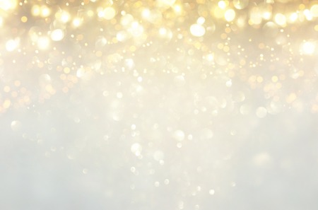 Photo for glitter vintage lights background. silver, gold and white. de-focused - Royalty Free Image