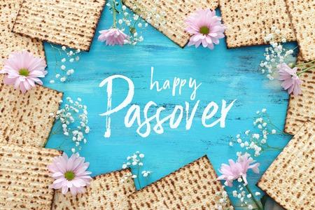 Photo pour Pesah celebration concept (Jewish Passover holiday). Top view, flat lay - image libre de droit