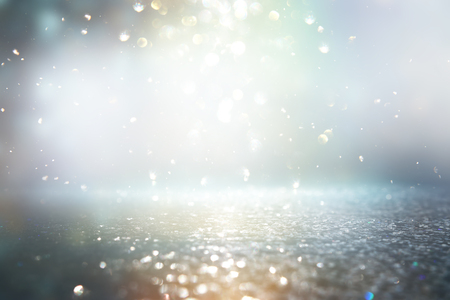 Photo for Glitter vintage lights background. Silver and blue. De-focused. - Royalty Free Image