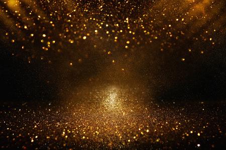 Foto de Glitter vintage lights background. Black and gold. De-focused - Imagen libre de derechos