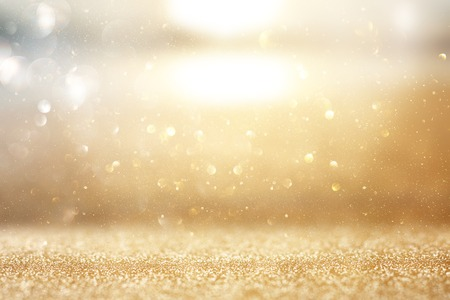 Photo for Photo of gold and silver glitter lights background - Royalty Free Image