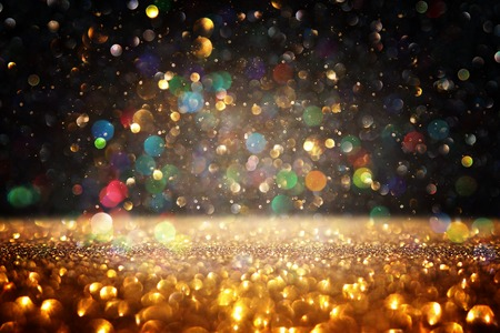Photo for Glitter vintage lights background. Black and gold. De-focused. - Royalty Free Image