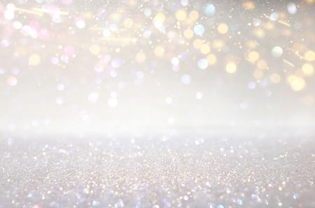 Photo pour Glitter silver and gild lights background. De-focused - image libre de droit