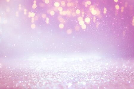 Photo for background of abstract glitter lights. purple, pink, gold and silver. de focused - Royalty Free Image