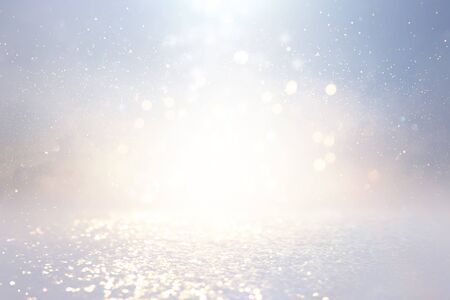 Photo pour background of abstract glitter lights. silver and gold. de-focused - image libre de droit
