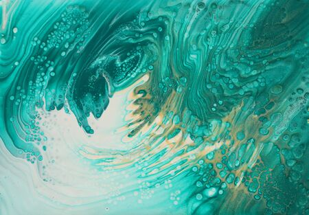 Foto de art photography of abstract marbleized effect background. turquoise, emerald green, blue and gold creative colors. Beautiful paint. - Imagen libre de derechos