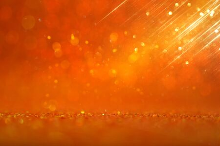 Photo for background of gold and orange glitter lights. de focused - Royalty Free Image
