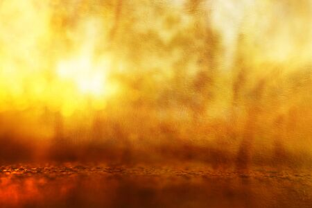 Photo pour Abstract background of light burst among trees and glitter golden bokeh lights - image libre de droit