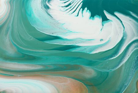 Foto de art photography of abstract marbleized effect background. turquoise, emerald green, white and gold creative colors. Beautiful paint - Imagen libre de derechos