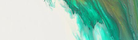 Foto de art photography of abstract marbleized effect background. emerald green, white and gold creative colors. Beautiful paint. - Imagen libre de derechos