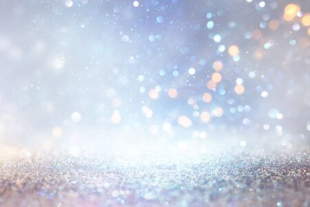 Photo for abstract glitter silver, gold , blue lights background. de-focused - Royalty Free Image