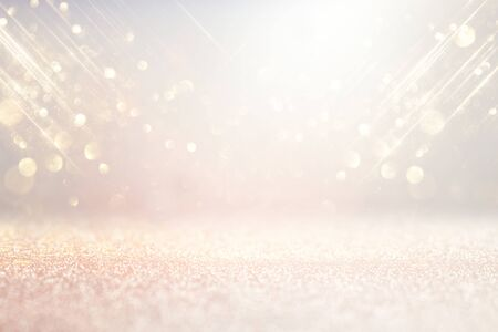 Photo pour abstract background of glitter vintage lights . silver, gold and white. de-focused - image libre de droit