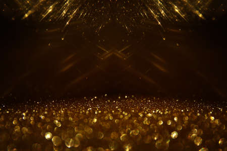 Photo for background of abstract gold and black glitter lights. defocused - Royalty Free Image