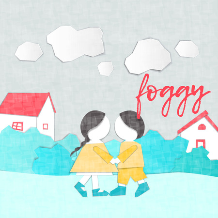 Illustration pour Vector Characters. Weather Forecast in papercut style. Girl and boy outdoors on a foggy day.Children's applique style - image libre de droit