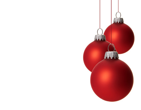 christmas, red christmas balls isolated hanging with white background