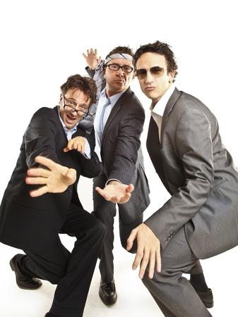 crazy businessmen dancing