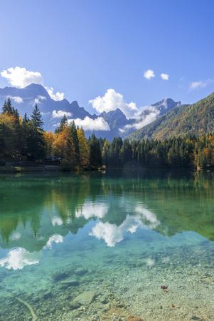 Beautiful mountain lake landscape in autumn, laghi di fusine, italy