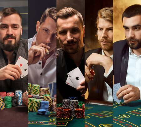 Photo pour Collage of males in classic suits. They sitting at green table with colorful chips on it, holding aces, smoking sigar. Poker, casino. Close-up - image libre de droit