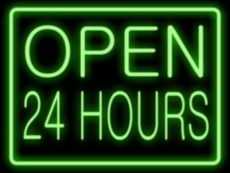 Abstract resembling 24 hours neon sign - suitable for night time retail concepts