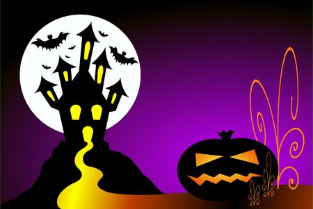 Halloween scene. Pumpkin, haunted house and bats against full moon.