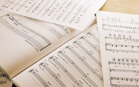Book and papers with music notes on table