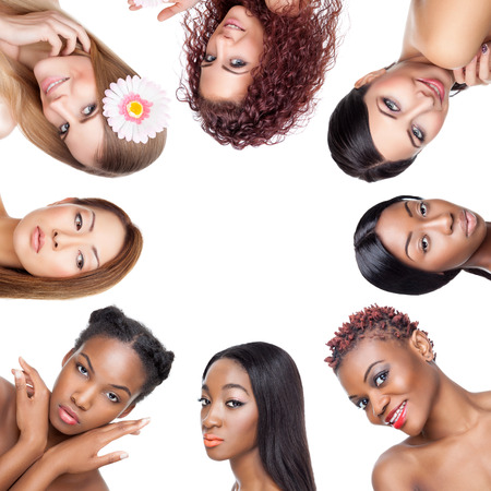 Photo pour Collage of multiple beauty portaits of women with various skin tones and hair - image libre de droit
