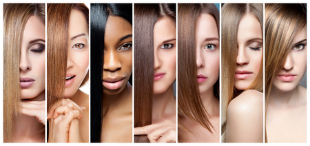 Photo for Portrait collage of women with various hair color skin tone and complexion - Royalty Free Image
