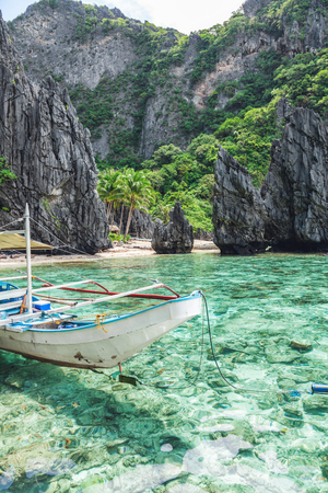Beautiful tropical scenery with a traditional boat in El Nido, Palawan, Philippines