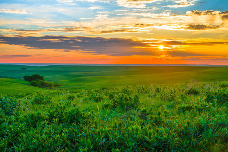 Photo pour Sunset in the Flint Hills of Kansas with Cattle grazing in the far background. - image libre de droit