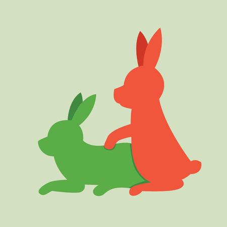 Rabbits animal sex, vector icon