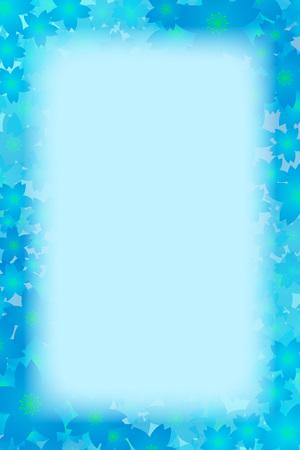blue floral border frame on color background vector illustration