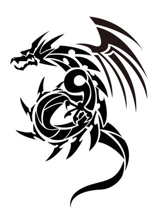 Illustration pour Illustration of a dragon for a sticker. Tribal Dragon. Tattoo design. Dragon sticker. Tribal Dragon for tattoo. Art of two dragons. - image libre de droit