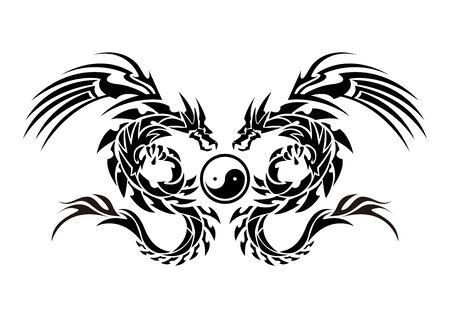 Illustration pour Illustration of a dragon for a sticker. Tribal Dragon. Tattoo design. Dragon sticker. Tribal Dragon for tattoo. - image libre de droit