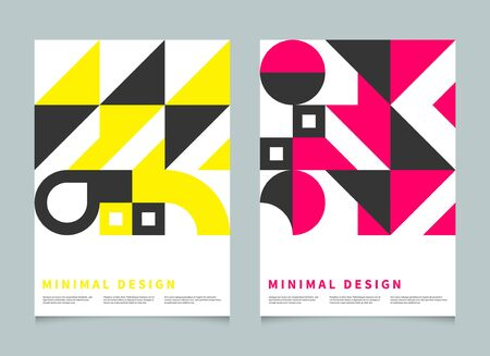 Illustration for Bauhaus geometric minimal poster, cover for booklet, brochure, vector color template, swiss pattern - Royalty Free Image