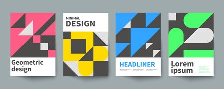 Illustration pour Minimalistic geometric poster, minimal cover template, A4 brochure, swiss style vector graphic design - image libre de droit