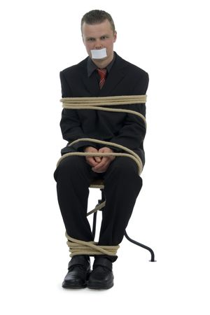 Tied businessman stick up mouth on white background