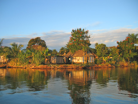 Small nice fisherman village at sunset on the canal des Pangalanes - Madagascar.